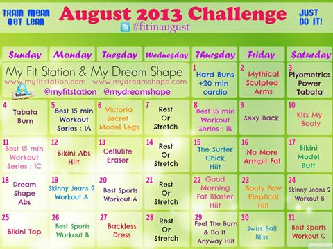 August 2013 Workout Calendar: Your Monthly Fitness Challenge !