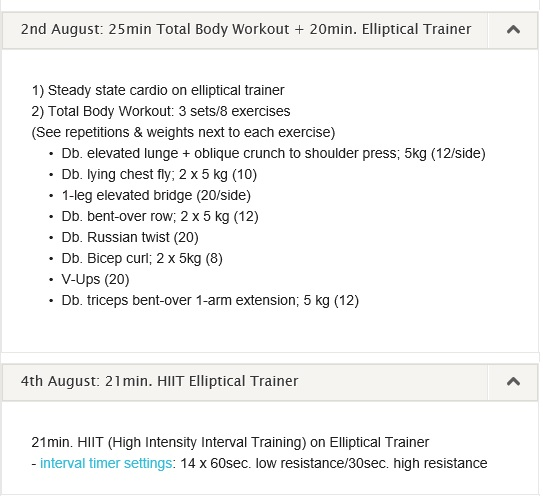 workout log 29 July 04th August 2013