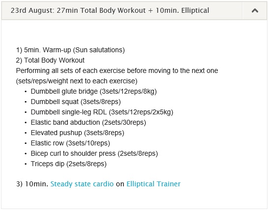 workout log 19-25 August 2013