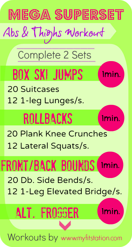 Mega Superset Abs and Thighs Workout infographic