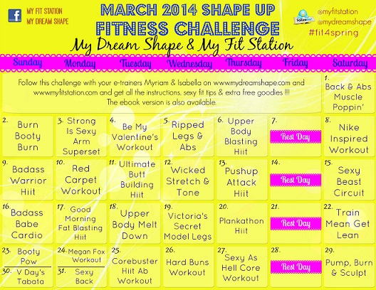 2014 Spring Shape Up March fitness challenge workout calendar preview