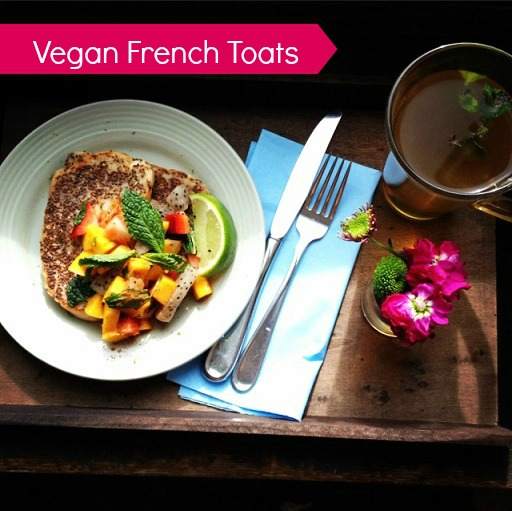 Healthy eating habits - vegan french toasts