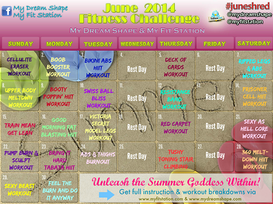 June 2014 30 day  fitness challenge - workout calendar preview
