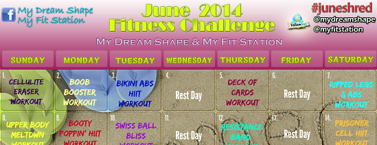 June 2014 30 day fitness challenge - workout calendar
