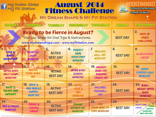 Fierce in August Workout Calendar 2014 preview