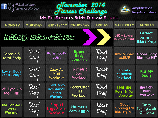 November Fitness Challenge - November Workout Calendar preview