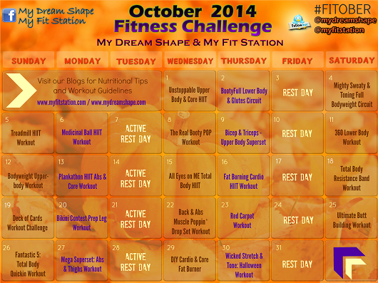 preview 2014 Workout Calendar - October Fitness Challenge