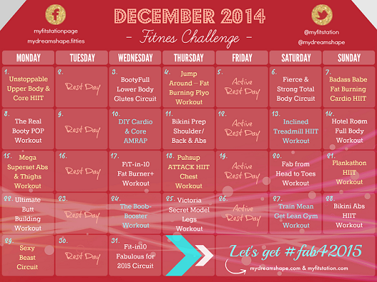 December Fitness Challenge 2014 Workout Calendar preview