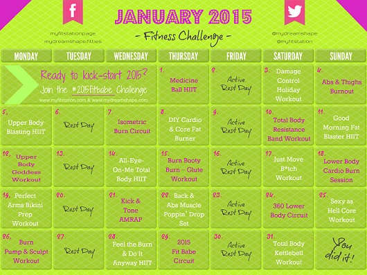 January Fitness Challenge -- 2015 Fit Babe Workout Calendar