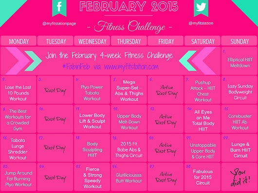 preview 2015 February Fitness Challenge 4-week Workout Calendar - www.www.myfitstation.com