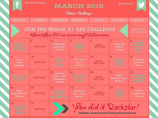 2015 March Fitness Challenge - 31-day Workout Calendar preview